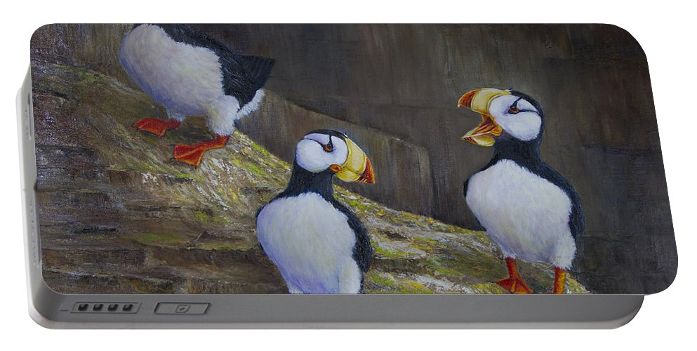 Horned Portable Battery Charger featuring the painting The Puffin Report by Dee Carpenter