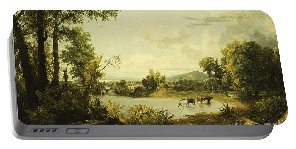 River Portable Battery Charger featuring the painting The Quiet Valley by Jasper Francis Cropsey
