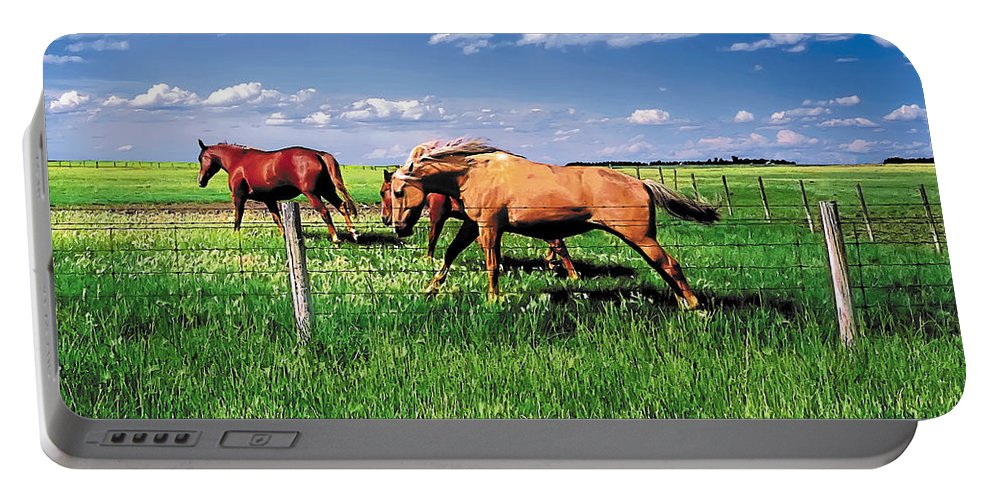 Scenic Portable Battery Charger featuring the painting The Race by Terry Reynoldson
