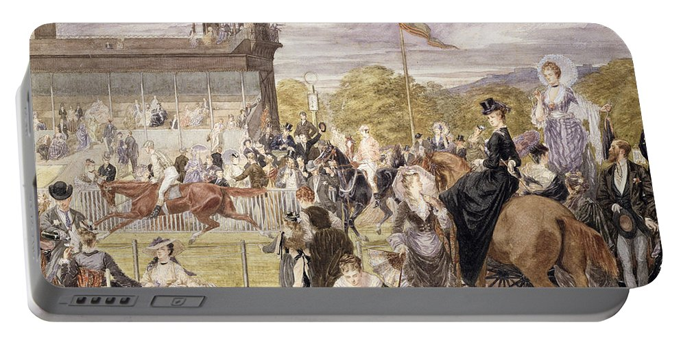 Race Course Portable Battery Charger featuring the painting The Races At Longchamp In 1874 by Pierre Gavarni
