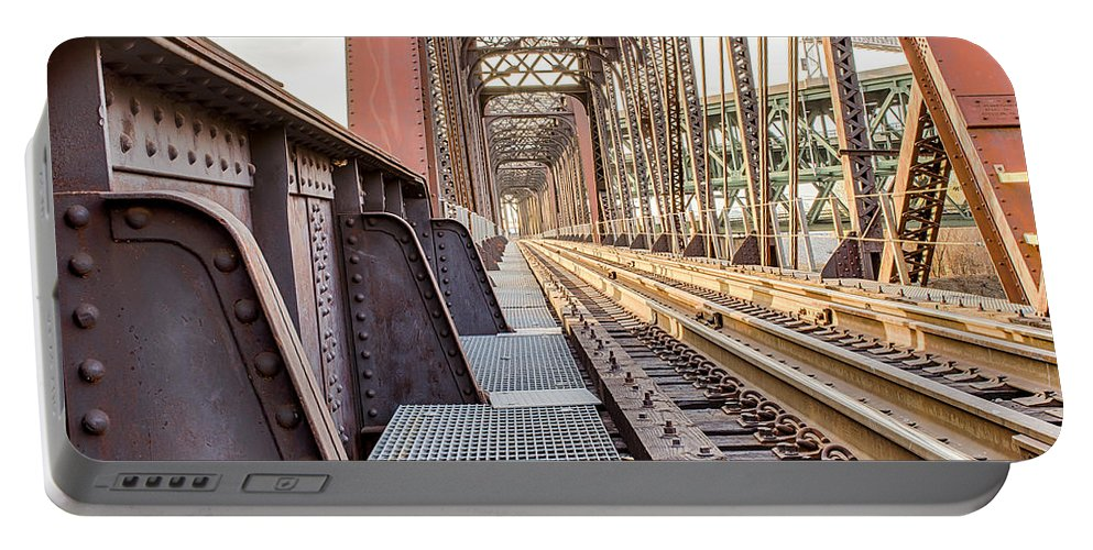 Train Portable Battery Charger featuring the photograph The Rails I by Ken Kobe
