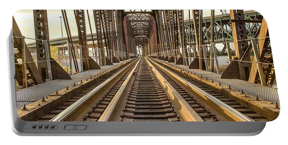 Train Portable Battery Charger featuring the photograph The Rails II by Ken Kobe