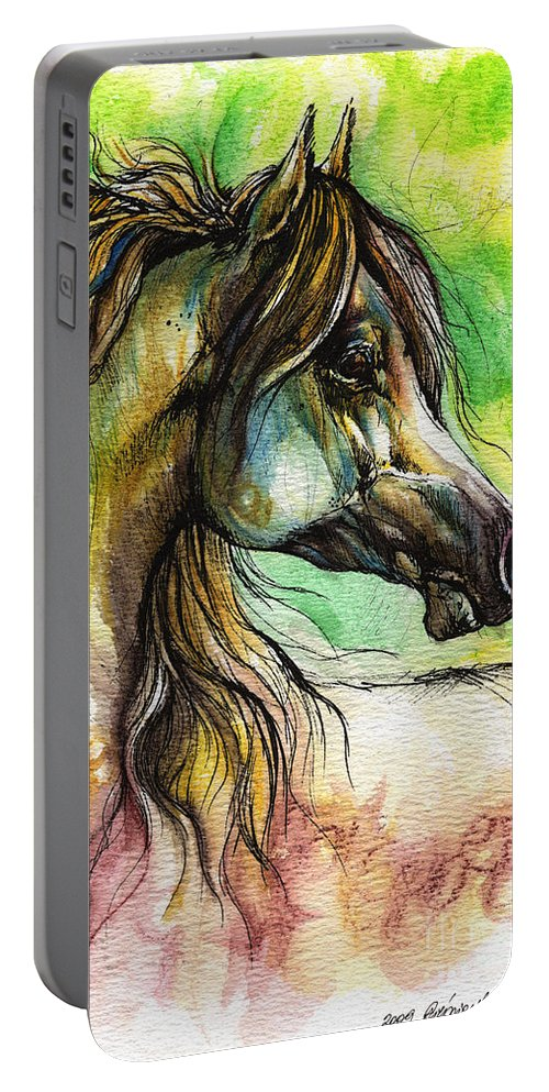 Horse Portable Battery Charger featuring the painting The Rainbow Colored Arabian Horse by Angel Ciesniarska