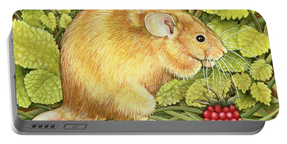 The Raspberry-mouse Field Mouse; Raspberry Portable Battery Charger featuring the painting The Raspberry Mouse by Ditz