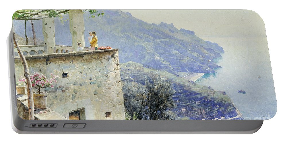 1920s Portable Battery Charger featuring the painting The Ravello Coastline by Peder Monsted