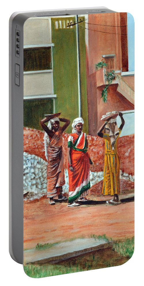 Real Portable Battery Charger featuring the painting The Real Home Makers by Usha Shantharam