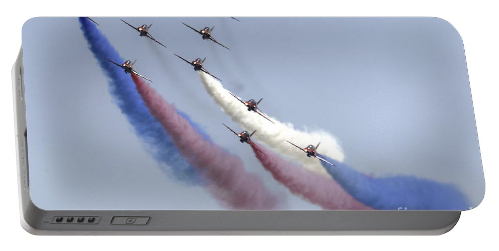 Red Portable Battery Charger featuring the photograph The Red Arrows by Rob Hawkins