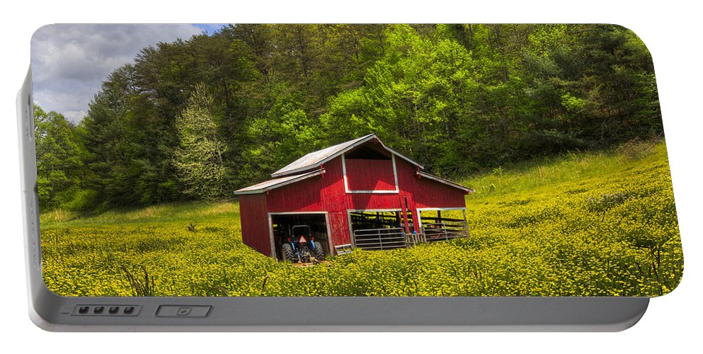 Appalachia Portable Battery Charger featuring the photograph The Red Barn by Debra and Dave Vanderlaan