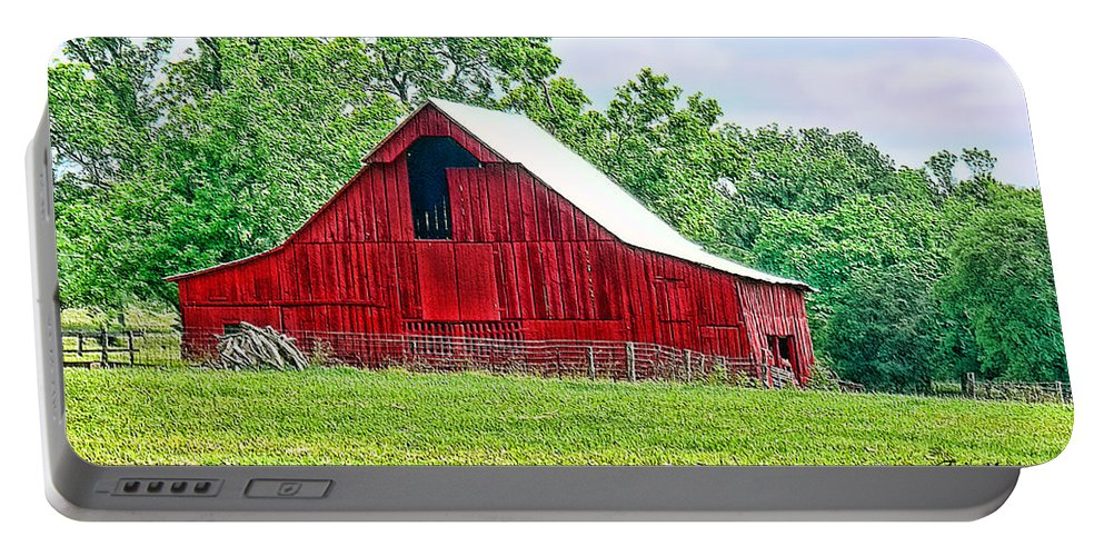 Barn Portable Battery Charger featuring the photograph The Red Barn - Featured In Old Buildings And Ruins Group by Ericamaxine Price