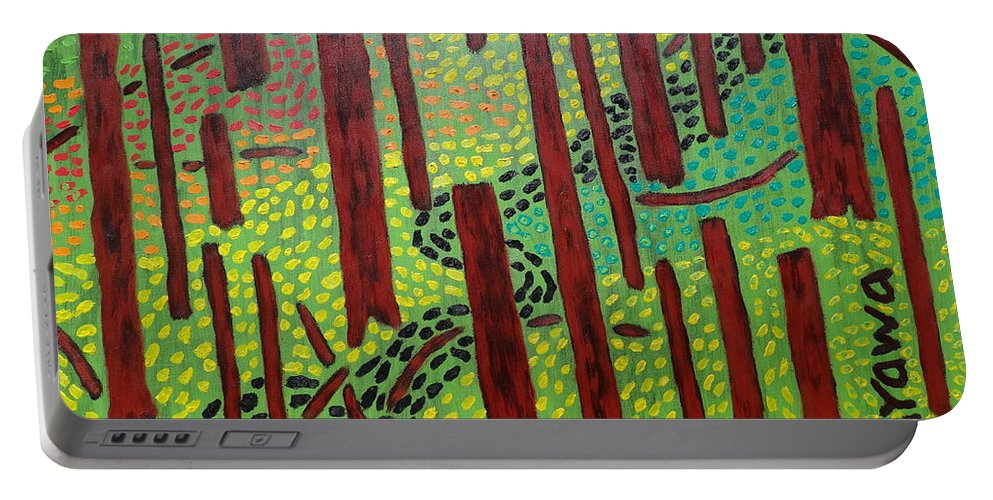Oil Portable Battery Charger featuring the painting The Red Forrest by Douglas W Warawa