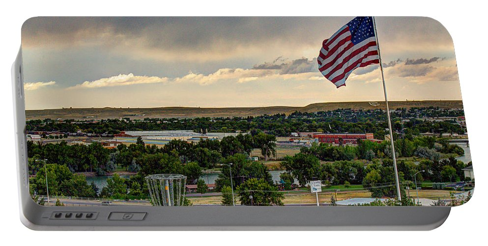 American Flag Portable Battery Charger featuring the photograph The Red White And Blue by John Lee