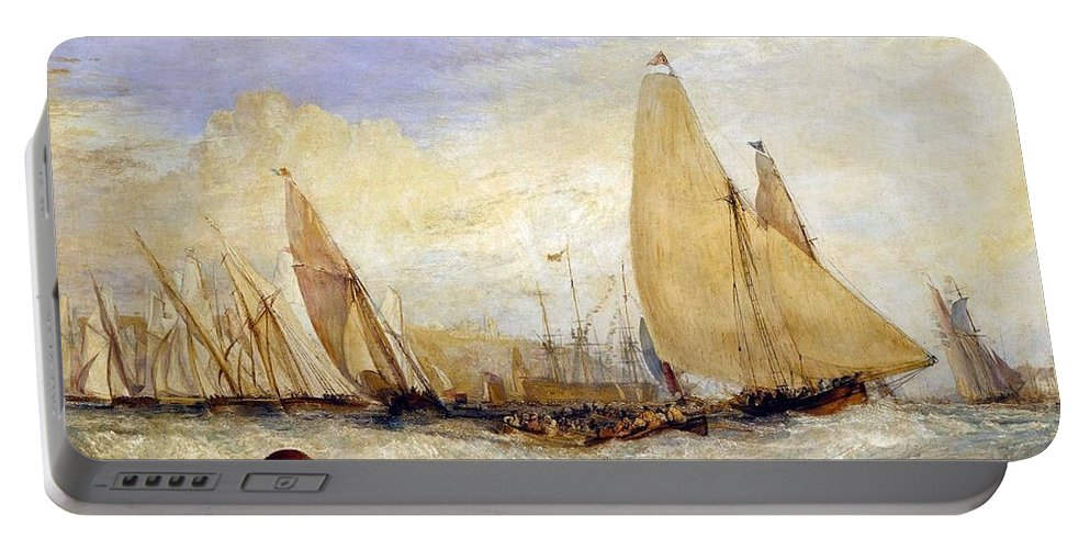 1828 Portable Battery Charger featuring the painting The Regatta Beating To Windward by JMW Turner