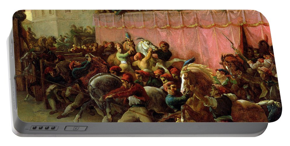 The Riderless Racers At Rome Portable Battery Charger featuring the painting The Riderless Racers At Rome by Theodore Gericault
