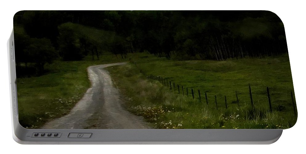 Fields Portable Battery Charger featuring the painting The Road Home by RC DeWinter