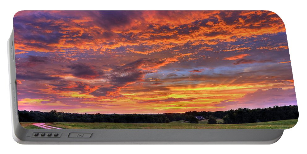 Sunrise Portable Battery Charger featuring the photograph The Road Home by Reid Callaway
