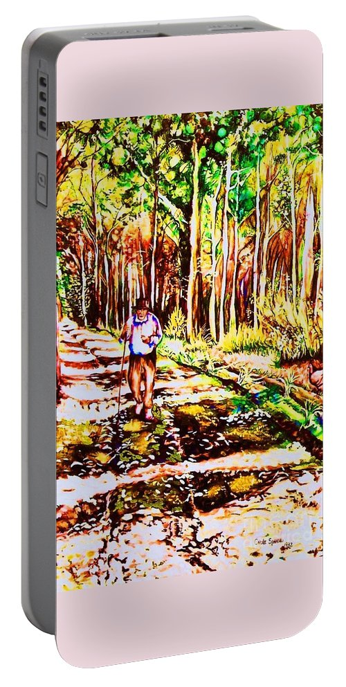 The Road Not Taken Robert Frost Poem Portable Battery Charger featuring the painting The Road Not Taken by Carole Spandau