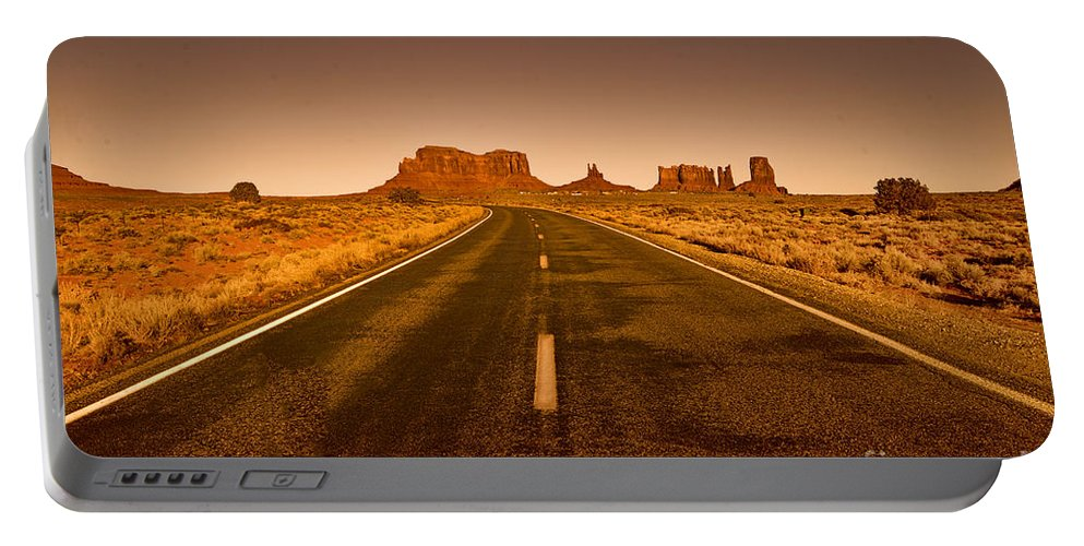 Monument Valley Portable Battery Charger featuring the photograph The Road To Monument Valley -utah by Douglas Barnard
