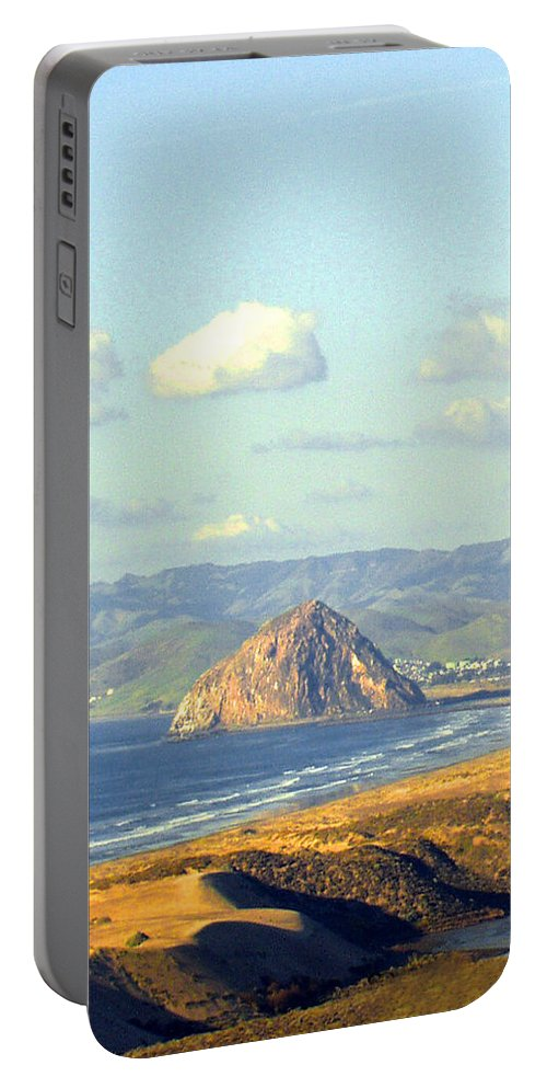 The Rock At Morro Bay Portable Battery Charger featuring the photograph The Rock At Morro Bay by Barbara Snyder