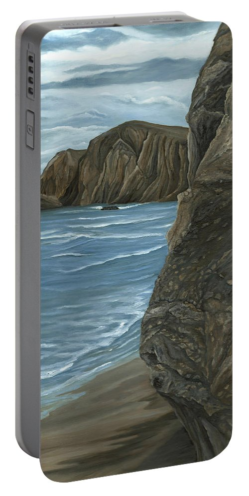 Rock Portable Battery Charger featuring the painting The Rock by Angeles M Pomata