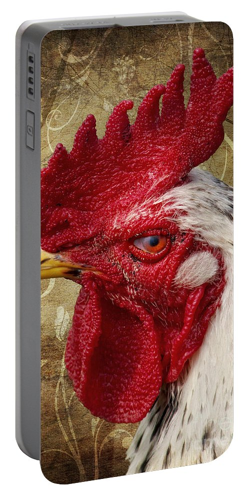 Rooster Portable Battery Charger featuring the photograph The Rooster by Angela Doelling AD DESIGN Photo and PhotoArt
