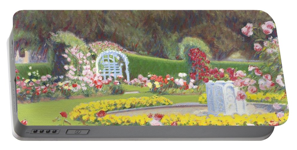 Rose Portable Battery Charger featuring the painting The Rose Garden by Candace Lovely