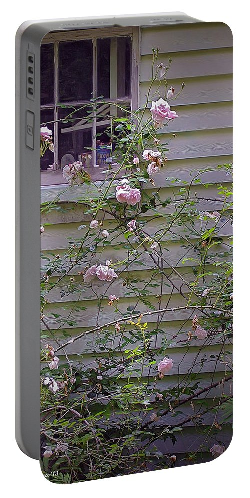 2d Portable Battery Charger featuring the photograph The Rose Shed by Brian Wallace