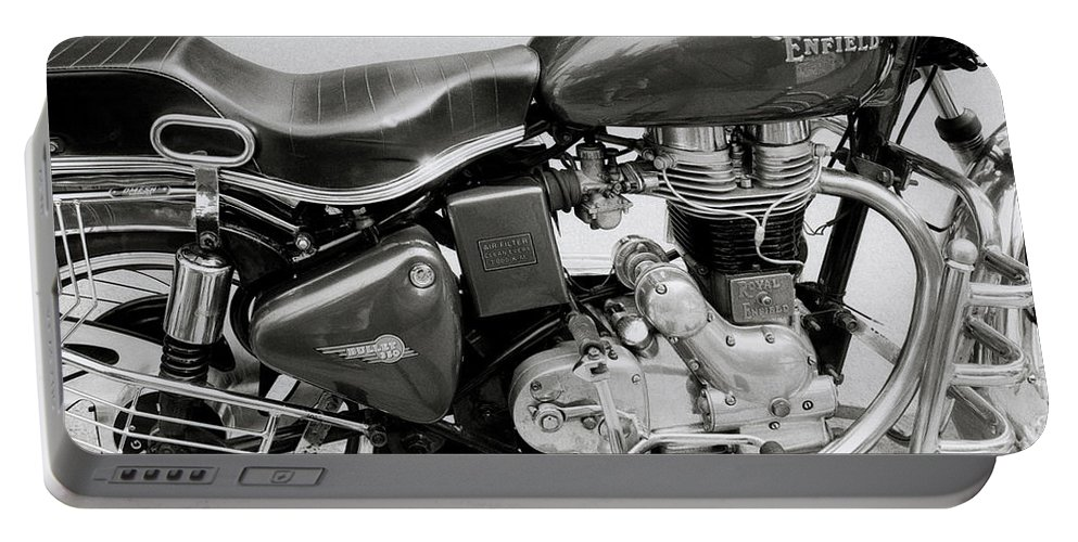 Motorbike Portable Battery Charger featuring the photograph The Royal Enfield Motorbike by Shaun Higson