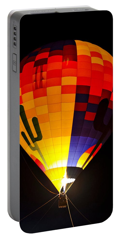 Hot Air Balloon Portable Battery Charger featuring the photograph The Saguaro Balloon by Saija Lehtonen
