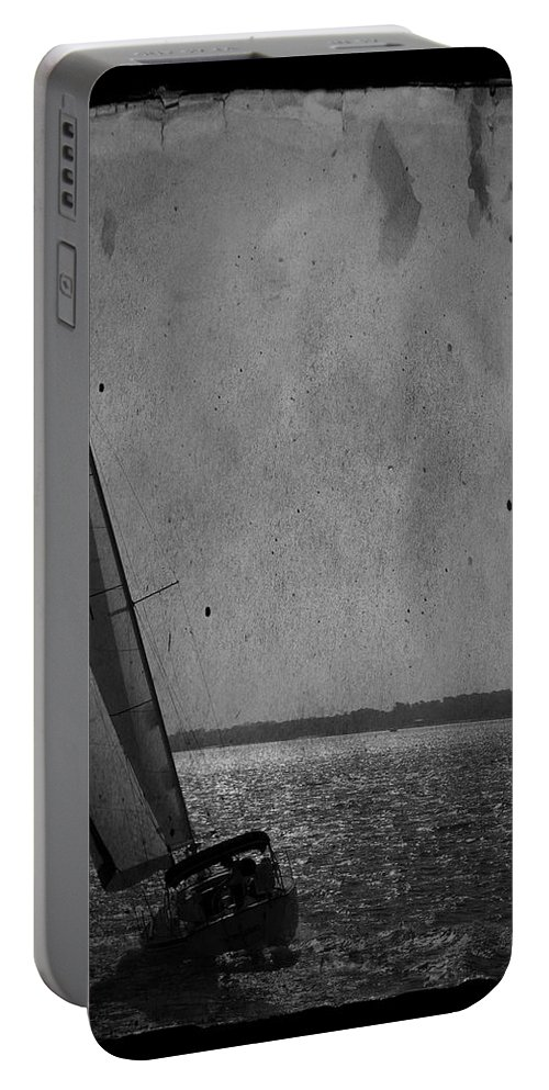 Boat Sailboat Sail Sea Ocean Water Sky Wind Breeze Outdoors Day Escape Vacation Tourism Travel Getaway Recreation Black And White Tall Tranquil Harbor Usa Portable Battery Charger featuring the photograph The Sailboat by Bob Pardue