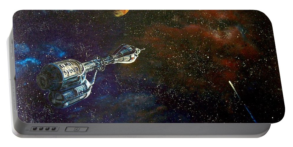 Vista Horizon Portable Battery Charger featuring the painting The Search for Earth by Murphy Elliott