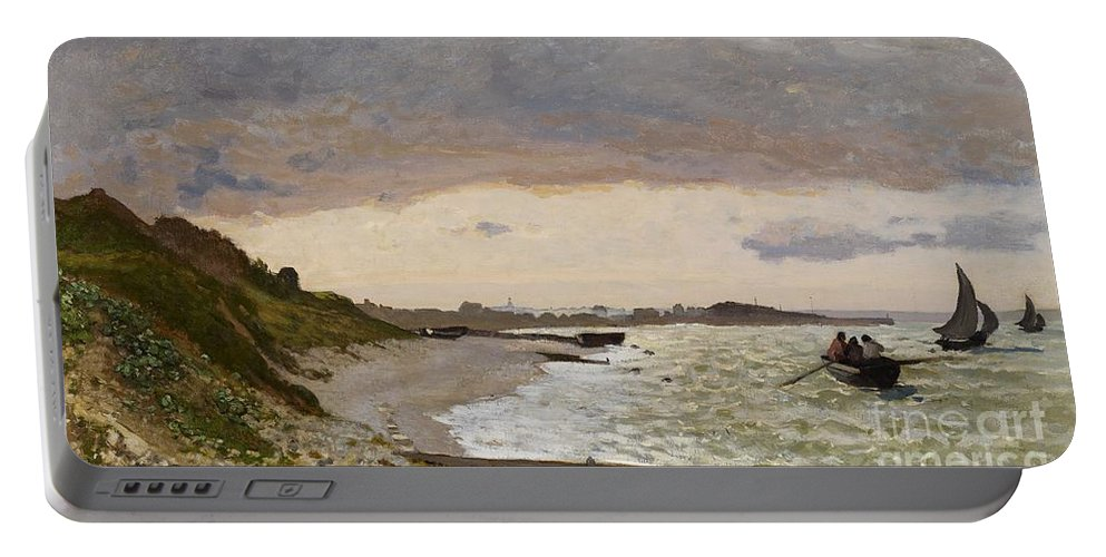 Boat Portable Battery Charger featuring the painting The Seashore At Sainte Adresse by Claude Monet