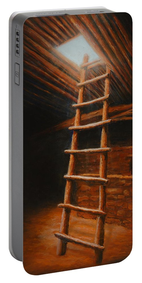 Kiva Portable Battery Charger featuring the painting The Second World by Jerry McElroy