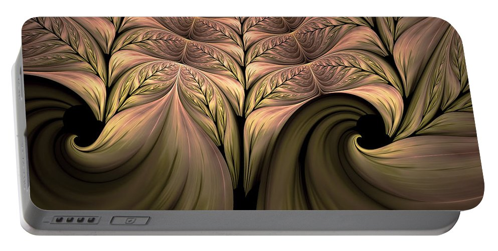 Abstract Portable Battery Charger featuring the digital art The Secret World Of Plants Abstract by Georgiana Romanovna