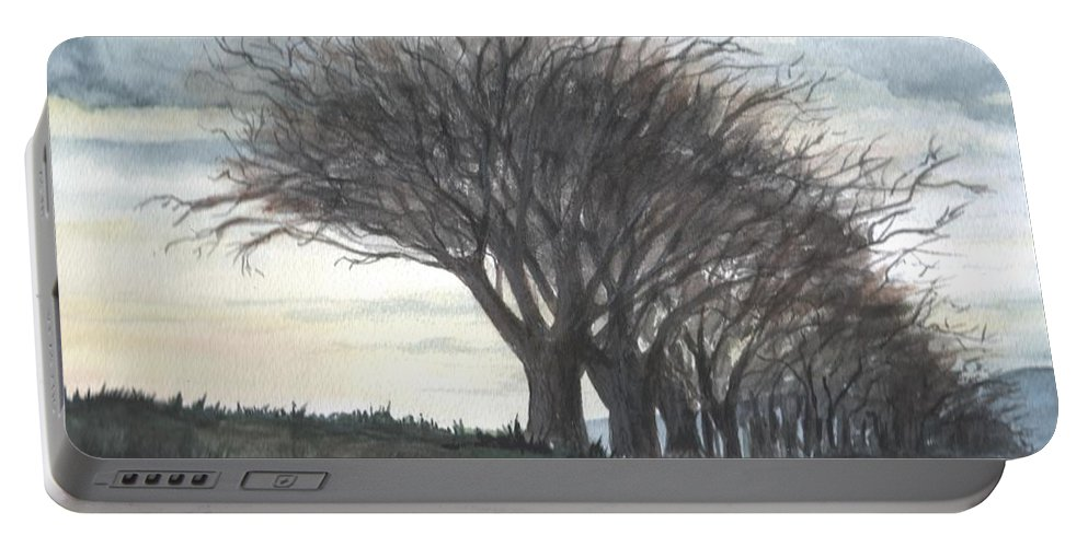 Watercolor Portable Battery Charger featuring the painting The Sentinels by Brenda Owen