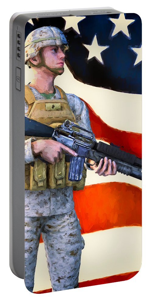 Patriotic Portable Battery Charger featuring the painting The Sentry by Bob Orsillo