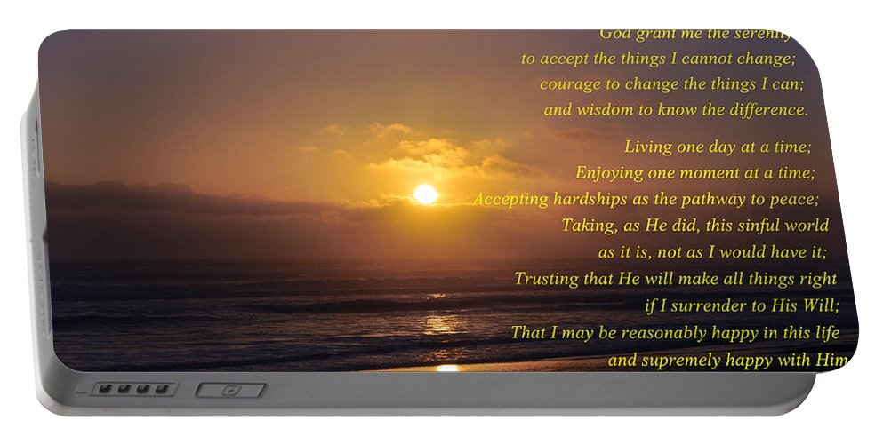 The Serenity Prayer Portable Battery Charger featuring the photograph The Serenity Prayer by Tikvah's Hope