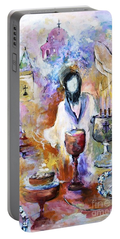 Religious Portable Battery Charger featuring the mixed media The Seven Sacrements by Mary Spyridon Thompson