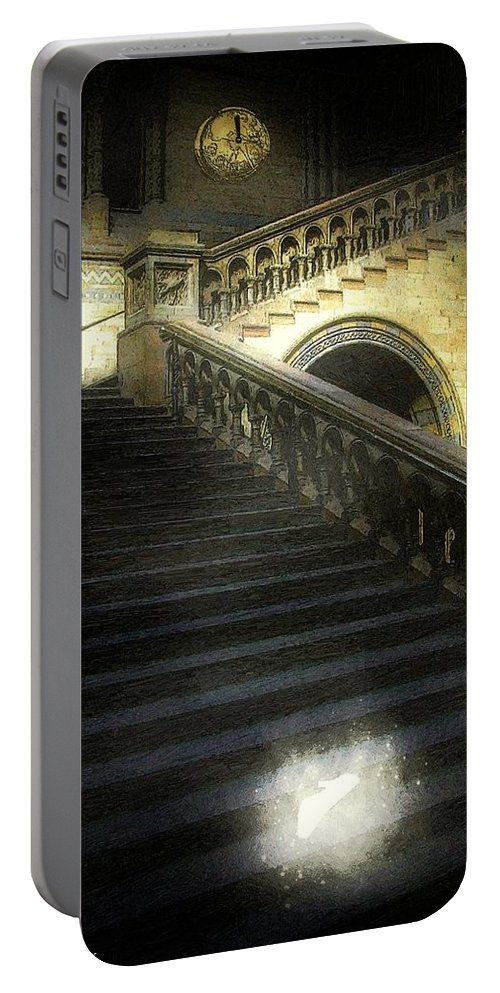 Architecture Portable Battery Charger featuring the painting The Shoe Forgotten by RC DeWinter