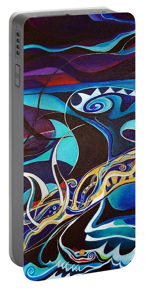 Homer Odyssey Ulysses Sirens Sea Singing Acrylic Abstract Symbolic Greek Mythology Portable Battery Charger featuring the painting the singing of the Sirens by Wolfgang Schweizer