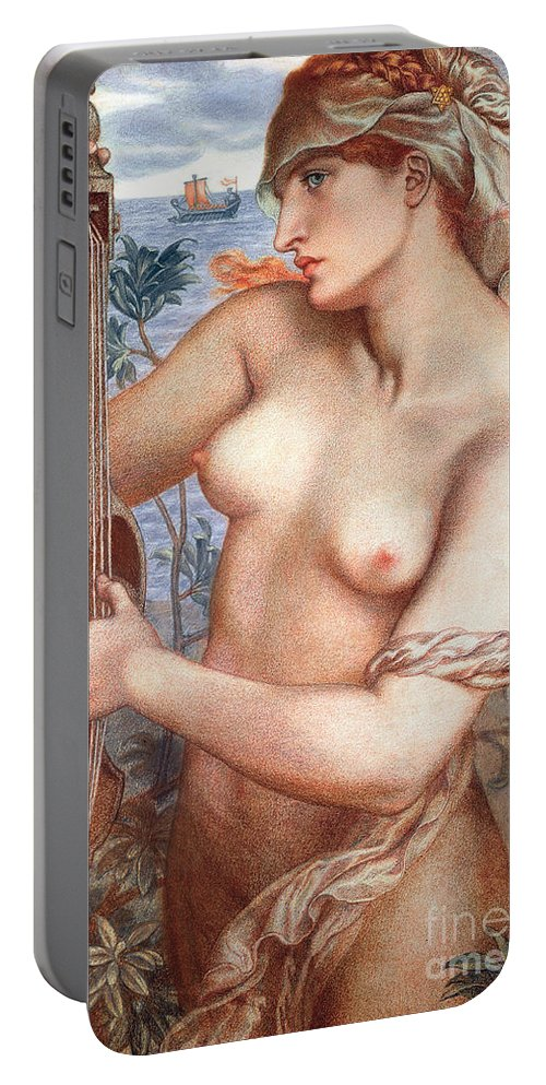 Female Portable Battery Charger featuring the painting The Siren by Dante Charles Gabriel Rossetti