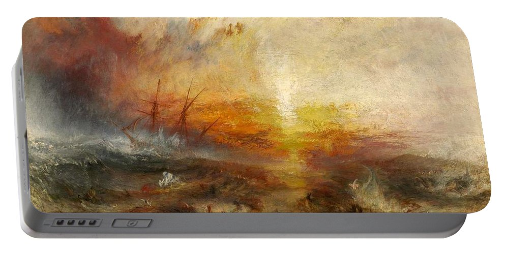1840 Portable Battery Charger featuring the painting The Slave Ship by JMW Turner