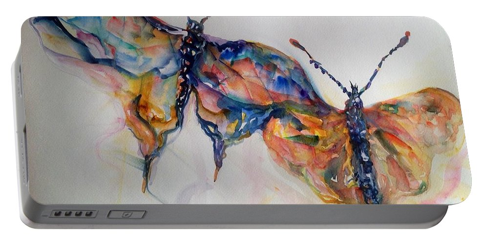 Butterfly Portable Battery Charger featuring the painting Under My Wing by Beverly Bronson