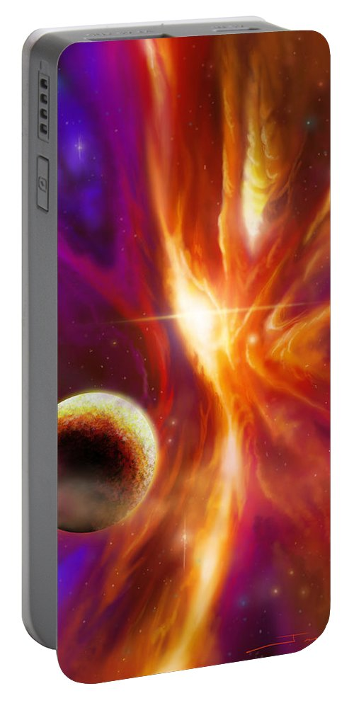 Jameshillgallery.com Portable Battery Charger featuring the painting The Spirit Realm Of The Saphire Nebula by James Christopher Hill