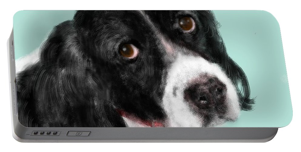 Animal Portable Battery Charger featuring the painting The Springer Spaniel by Lois Ivancin Tavaf