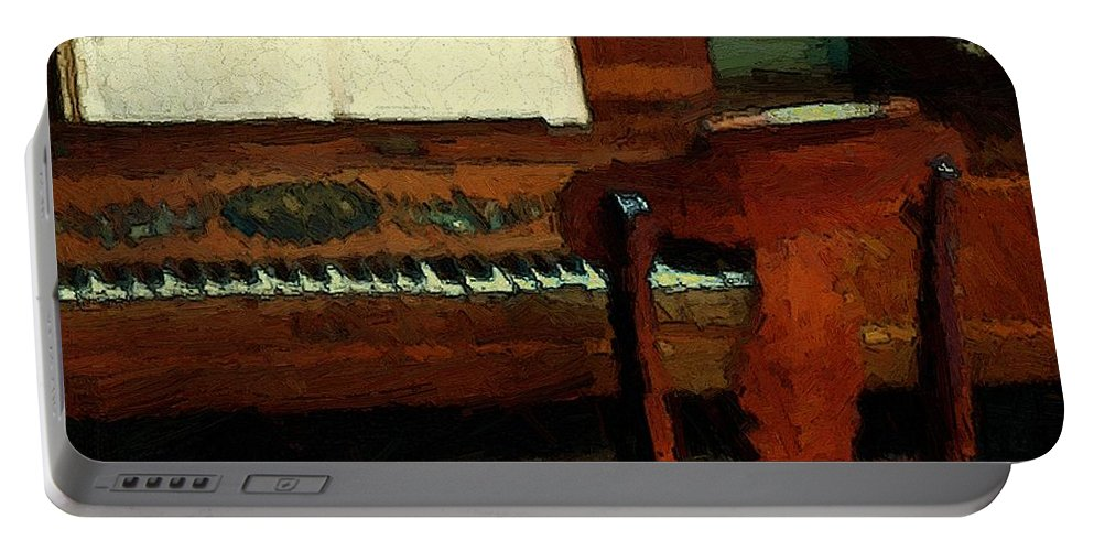 Colonial Portable Battery Charger featuring the painting The Square Piano by RC DeWinter