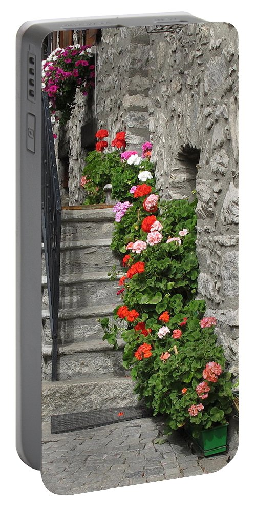 Geraniums Portable Battery Charger featuring the photograph The Staircase by Mary Ellen Mueller Legault