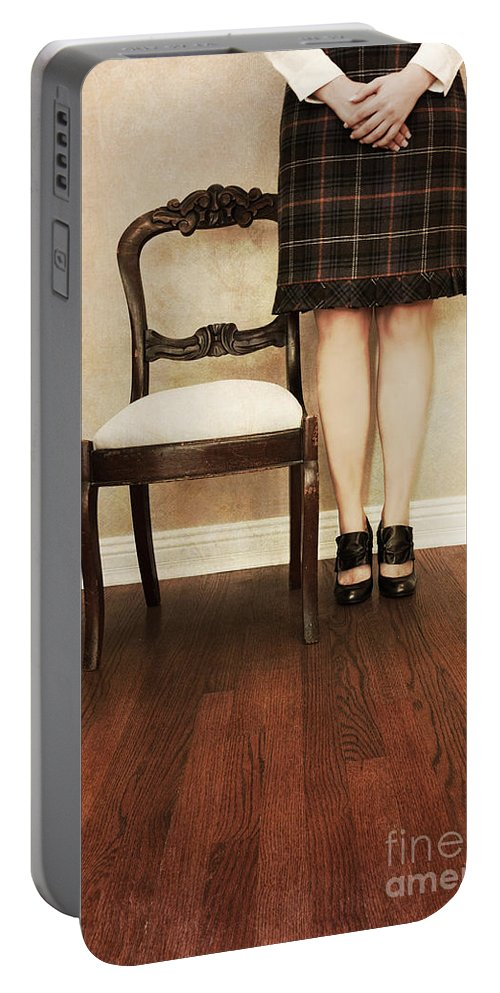 Woman; Female; Lady; Standing; Skirt; Legs; Hands; Knees; School; Teacher; Wood; Shoes; Prim; Proper; Caucasian; Old; Vintage; Plaid; Matron Portable Battery Charger featuring the photograph The Stand by Margie Hurwich