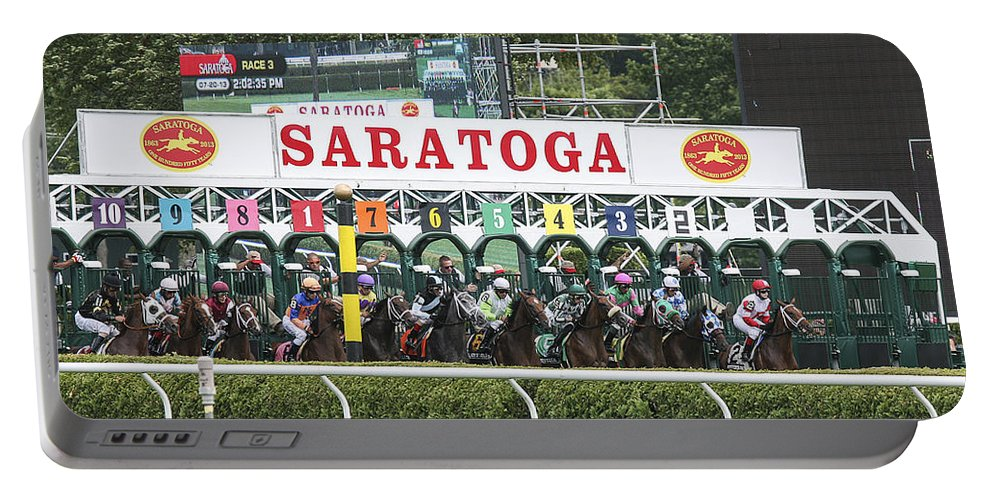 Saratoga Racetrack 2013 Portable Battery Charger featuring the photograph The Start At Saratoga by Eric Swan