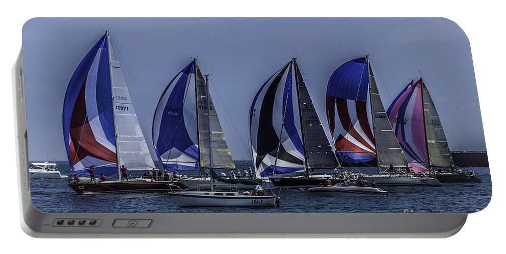 Sailboats Portable Battery Charger featuring the photograph The Start by Ronald Grogan