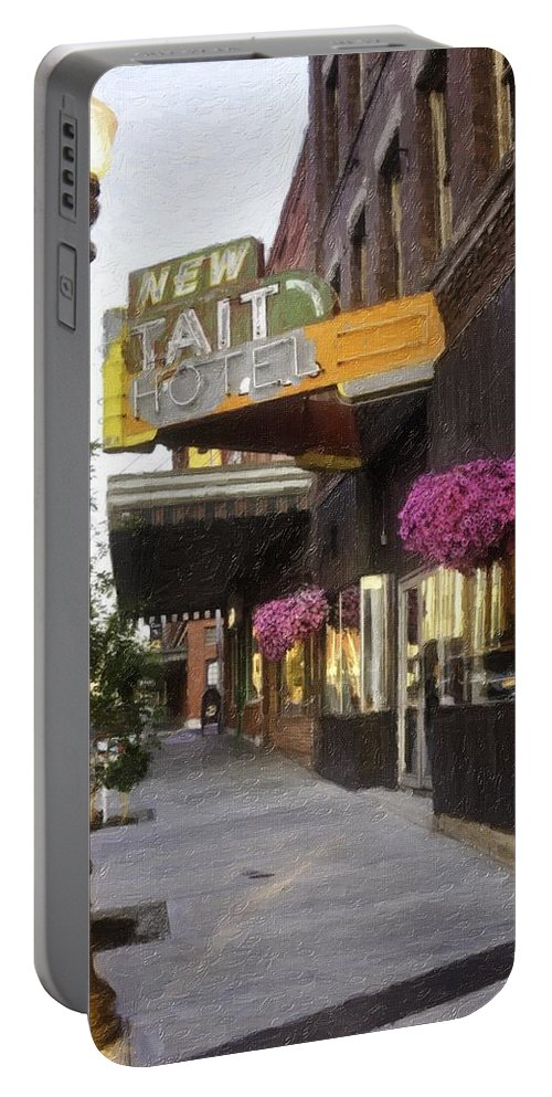 Butte Portable Battery Charger featuring the painting The Store Fronts by Image Takers Photography LLC - Laura Morgan